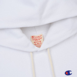Мужская толстовка Champion Reverse Weave Hooded Logo Patch To The Chest And Sleeve White фото- 1