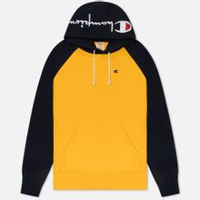 Мужская толстовка Champion Reverse Weave Hoodie Script Bicolor Zinc Yellow/Navy фото- 0