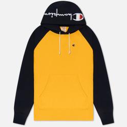 Мужская толстовка Champion Reverse Weave Hoodie Script Bicolor Zinc Yellow/Navy
