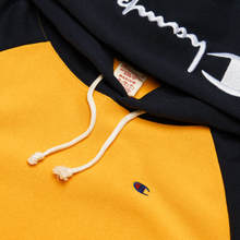 Мужская толстовка Champion Reverse Weave Hoodie Script Bicolor Zinc Yellow/Navy фото- 1