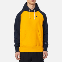 Мужская толстовка Champion Reverse Weave Hoodie Script Bicolor Zinc Yellow/Navy фото- 2