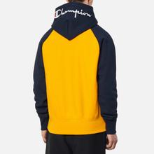 Мужская толстовка Champion Reverse Weave Hoodie Script Bicolor Zinc Yellow/Navy фото- 3