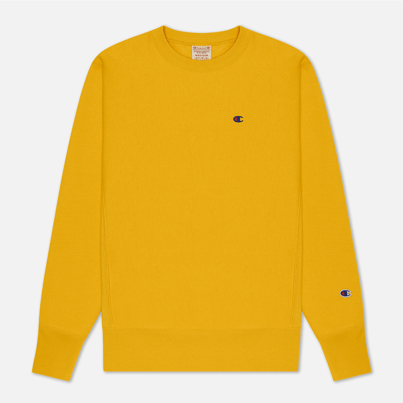 Мужская толстовка Champion Reverse Weave Logo Chest & Sleeve Crew Neck Zinc Yellow