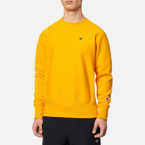 Мужская толстовка Champion Reverse Weave Logo Chest & Sleeve Crew Neck Zinc Yellow
