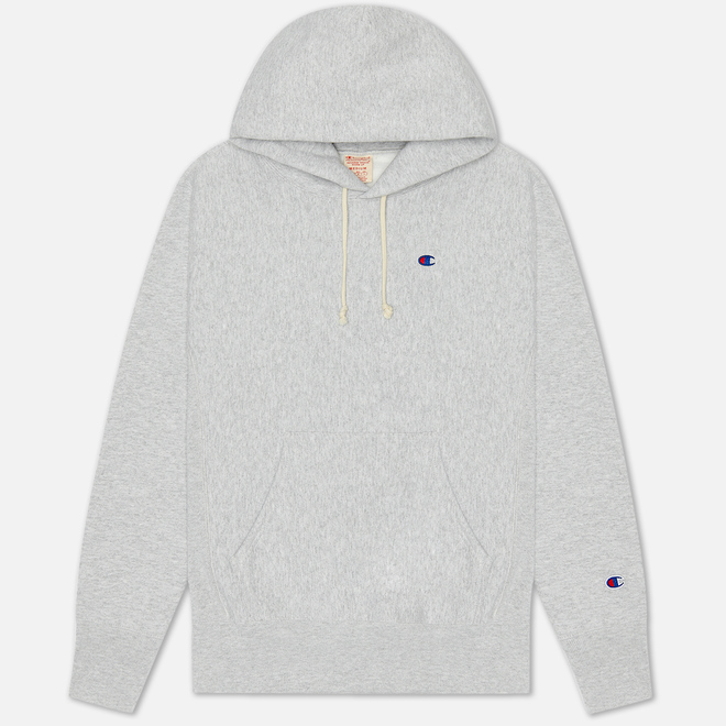 Мужская толстовка Champion Reverse Weave Logo Chest & Sleeve Hoodie Light Grey