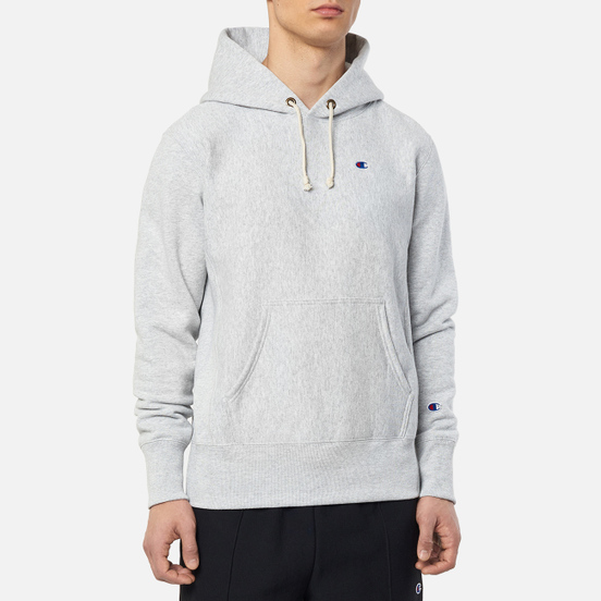 Мужская толстовка Champion Reverse Weave Logo Chest & Sleeve Hoodie Light Grey