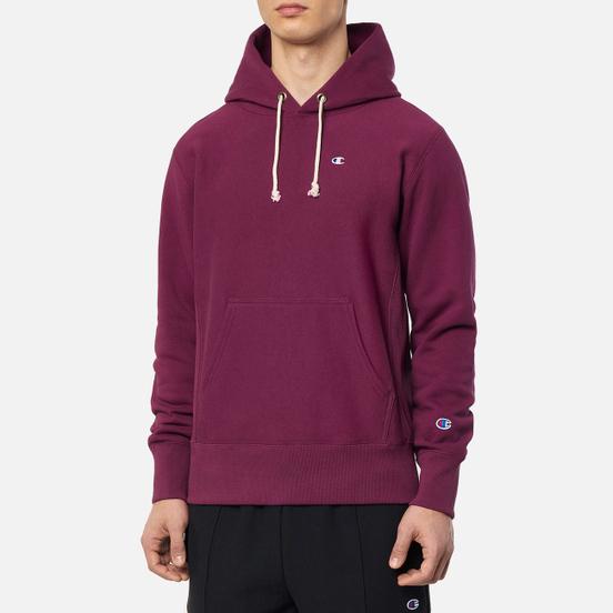 Мужская толстовка Champion Reverse Weave Logo Chest & Sleeve Hoodie Grape Wine