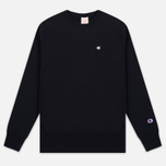 Champion Reverse Weave Logo Crew Neck Men's Sweatshirt Black photo- 0