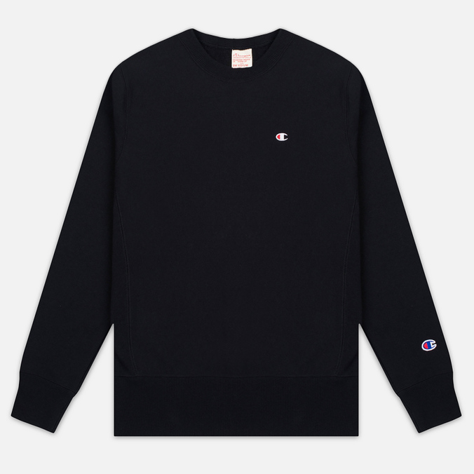 Champion Reverse Weave Logo Crew Neck Men's Sweatshirt Black