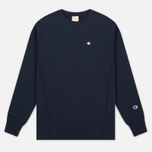 Мужская толстовка Champion Reverse Weave Logo Crew Neck Navy фото- 0