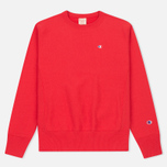 Мужская толстовка Champion Reverse Weave Logo Crew Neck Red фото- 0
