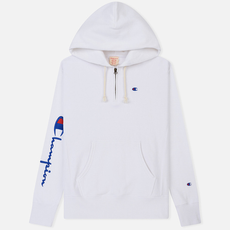 Мужская толстовка Champion Reverse Weave Logo Half Zip Hooded White
