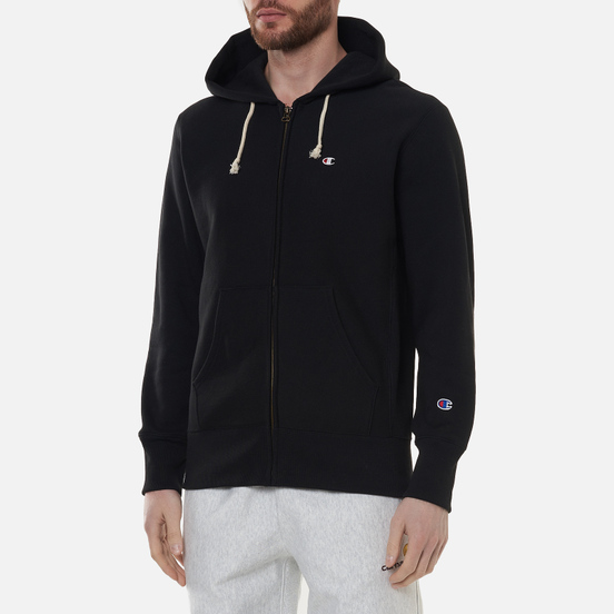 Мужская толстовка Champion Reverse Weave Logo Hoodie Full Zip Black