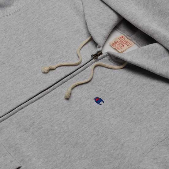 Мужская толстовка Champion Reverse Weave Logo Hoodie Full Zip Light Grey