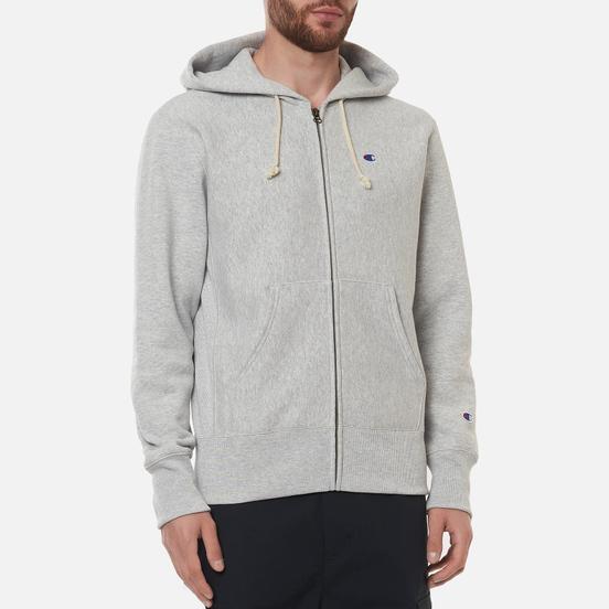 Мужская толстовка Champion Reverse Weave Logo Hoodie Full Zip Light Grey