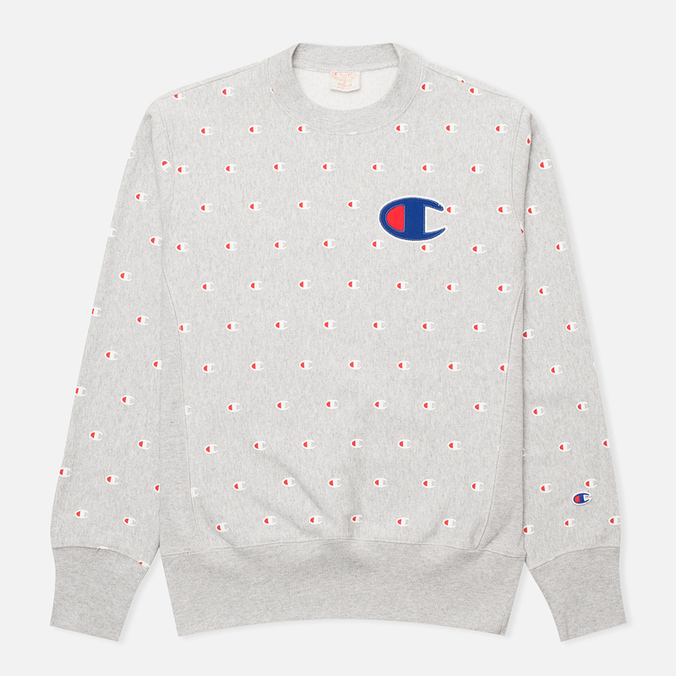 Мужская толстовка Champion Reverse Weave Logo Print Light Grey