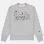 Мужская толстовка Champion Reverse Weave Archive Centenary Print Crew Neck Light Grey фото- 0