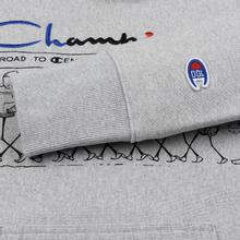 Мужская толстовка Champion Reverse Weave Multi Logo Hooded Light Grey фото- 5