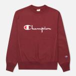 Champion Reverse Weave Script Men's Sweatshirt Burgundy photo- 0