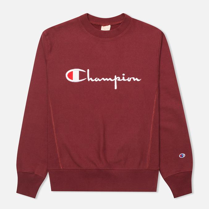Champion Reverse Weave Script Men's Sweatshirt Burgundy
