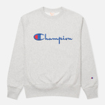 Мужская толстовка Champion Reverse Weave Script Light Grey фото- 0