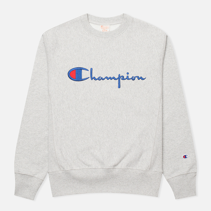 Мужская толстовка Champion Reverse Weave Script Light Grey