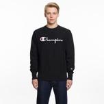 Мужская толстовка Champion Reverse Weave Script Logo Crew Neck Black фото- 5