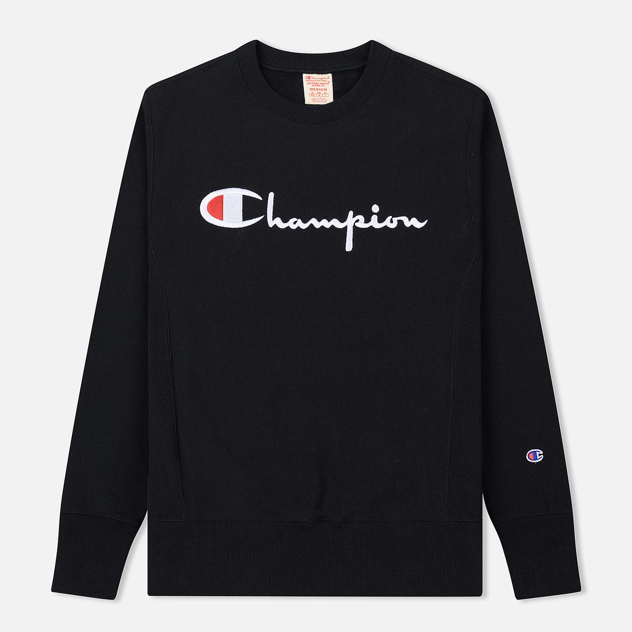 Мужская толстовка Champion Reverse Weave Script Logo Crew Neck Black