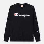 Мужская толстовка Champion Reverse Weave Script Logo Crew Neck Black фото- 0