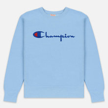 Мужская толстовка Champion Reverse Weave Script Logo Crew Neck Blue Bell фото- 0
