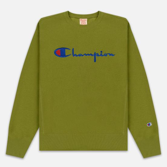 Мужская толстовка Champion Reverse Weave Script Logo Crew Neck Guacamole