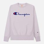 Мужская толстовка Champion Reverse Weave Script Logo Crew Neck Lavender фото- 0