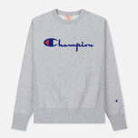 Мужская толстовка Champion Reverse Weave Script Logo Crew Neck Light Grey фото- 0