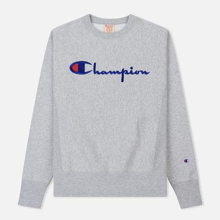 Мужская толстовка Champion Reverse Weave Script Logo Crew Neck Light Grey
