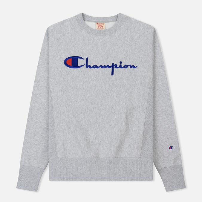 Мужская толстовка Champion Reverse Weave Script Logo Crew Neck Light Grey