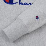 Мужская толстовка Champion Reverse Weave Script Logo Crew Neck Light Grey фото- 3