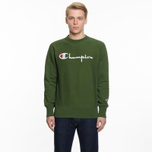 Мужская толстовка Champion Reverse Weave Script Logo Crew Neck Military Green фото- 5