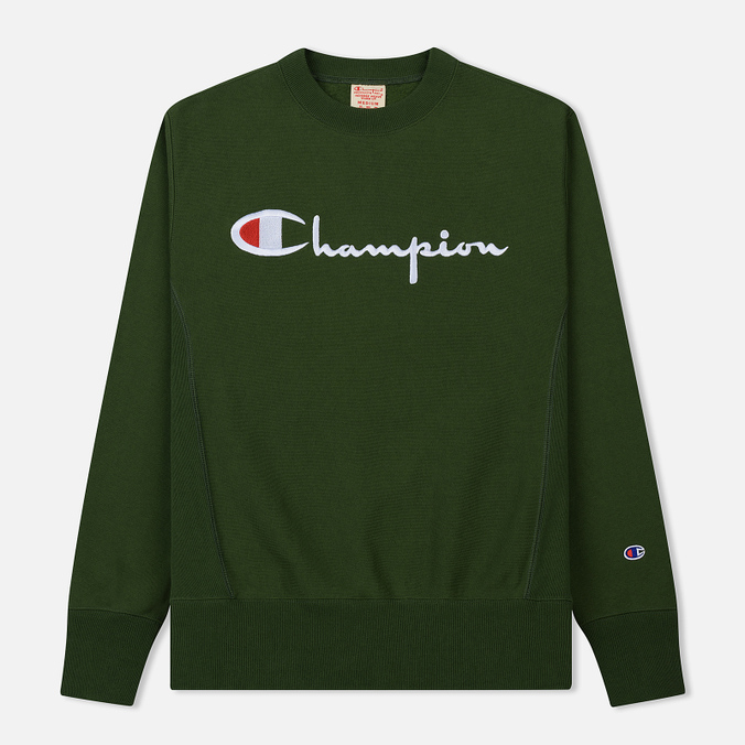 Мужская толстовка Champion Reverse Weave Script Logo Crew Neck Military Green