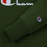 Мужская толстовка Champion Reverse Weave Script Logo Crew Neck Military Green фото- 3
