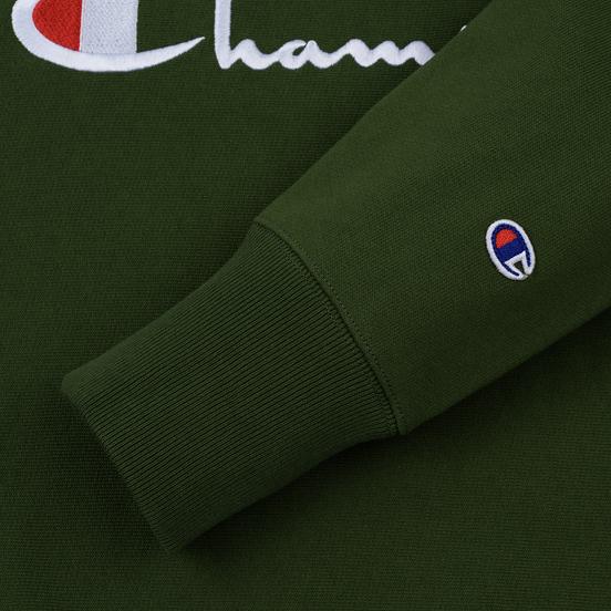 Мужская толстовка Champion Reverse Weave Script Logo Crew Neck Military Green