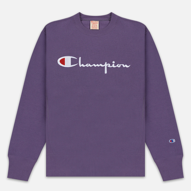 Мужская толстовка Champion Reverse Weave Script Logo Crew Neck Mulled Grape