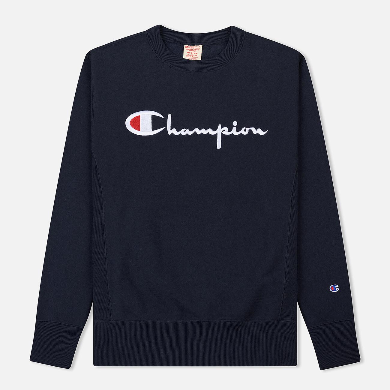 Мужская толстовка Champion Reverse Weave Script Logo Crew Neck Navy