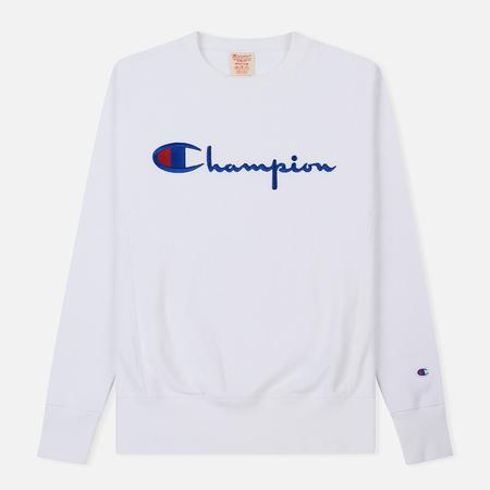 Мужская толстовка Champion Reverse Weave Script Logo Crew Neck White