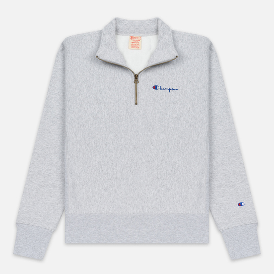 Мужская толстовка Champion Reverse Weave Small Script Half Zip Light Grey