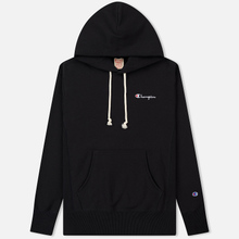 Мужская толстовка Champion Reverse Weave Small Script Hooded Black фото- 0