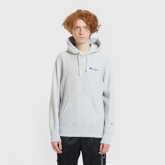 Мужская толстовка Champion Reverse Weave Small Script Hooded Light Grey
