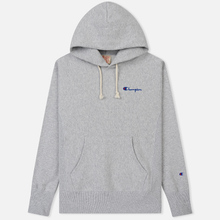Мужская толстовка Champion Reverse Weave Small Script Hooded Light Grey фото- 0