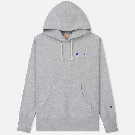 Мужская толстовка Champion Reverse Weave Small Script Hooded Light Grey