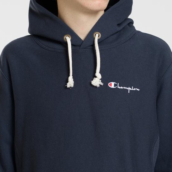 Мужская толстовка Champion Reverse Weave Small Script Hooded Navy