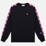 Champion Reverse Weave Taped Logo Crew Neck Men's Sweatshirt Black photo- 0